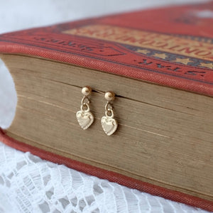 Solid Gold Tiny Tiny Heart Drop Studs by Joy Everley