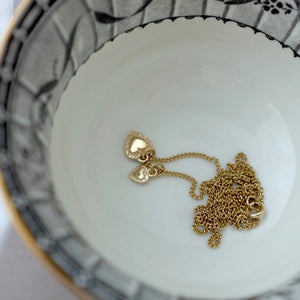 Solid Gold Two Tiny Hearts Necklace