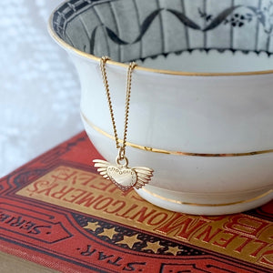 Solid Gold Winged Heart Necklace