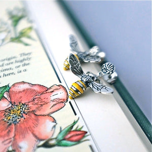 Silver Honey Bee Baroque Earrings