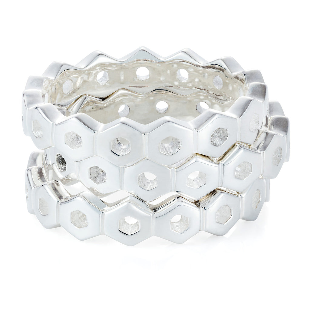 Silver Honeycomb Ring Stacking Rings