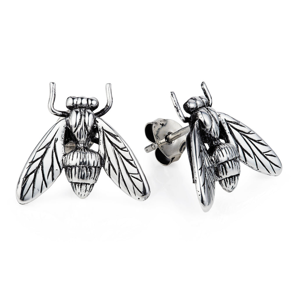 Dark Silver Hoverfly Earrings