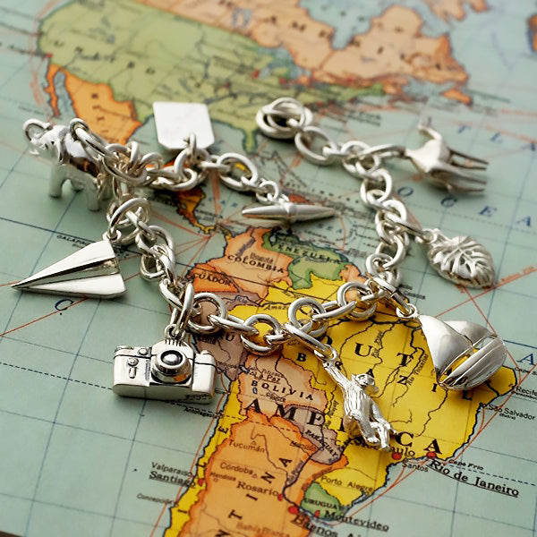 Intrepid Traveller Silver Charm Bracelet by Joy Everley