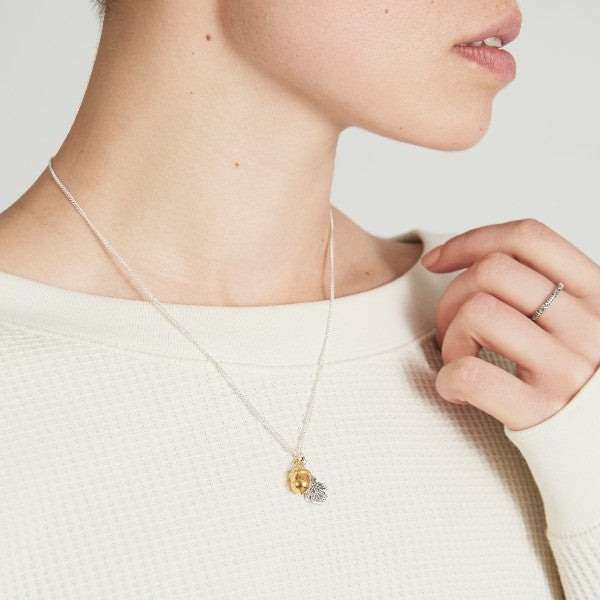 Vermeil Acorn & Dark Oak Leaf Necklace - Joy Everley Fine Jewellers, London