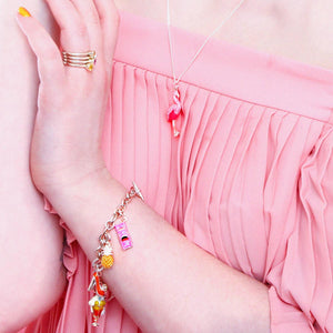 Flamingo Necklace and Enamelled Charm Bracelet