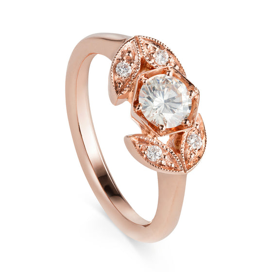 Hexagonal Rose Gold Engagement Ring