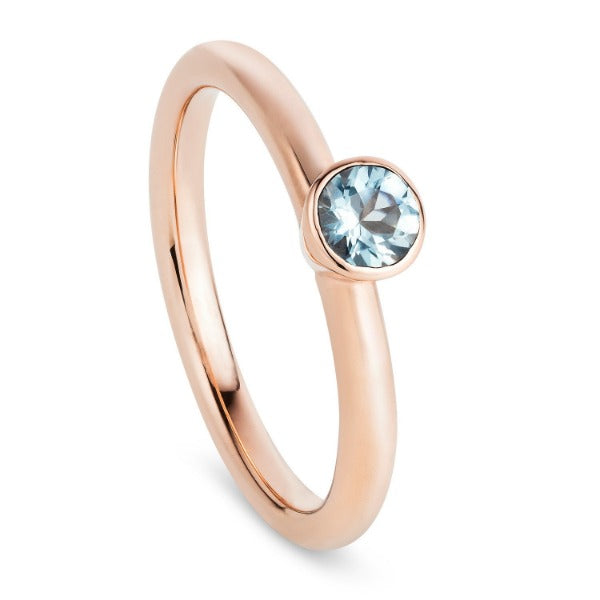 Rose Gold Aquamarine Stacking Ring - Joy Everley Fine Jewellers, London