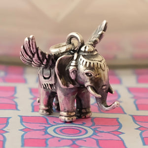 Flying Elephant Silver Charm by Joy Everley