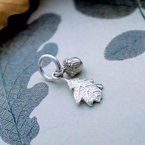 Silver Acorn & Oak Leaf Charm by Joy Everley