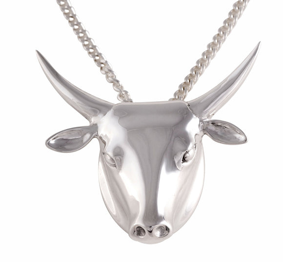 chunky Silver Bulls head necklace