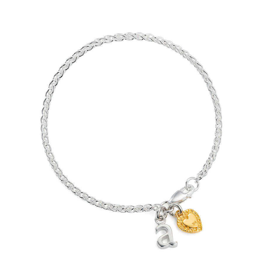 Silver Letter & Heart Bracelet by Joy Everley