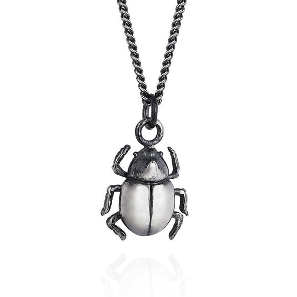 Dark Silver Little Rhino Beetle Necklace