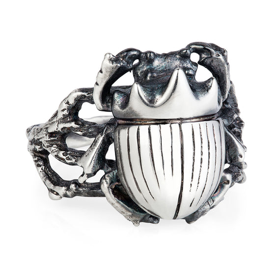 Dark Silver Little Scarab Beetle Ring