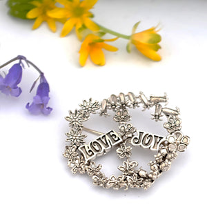 Love & Joy Floral Silver Peace Sign Brooch by Joy Everley
