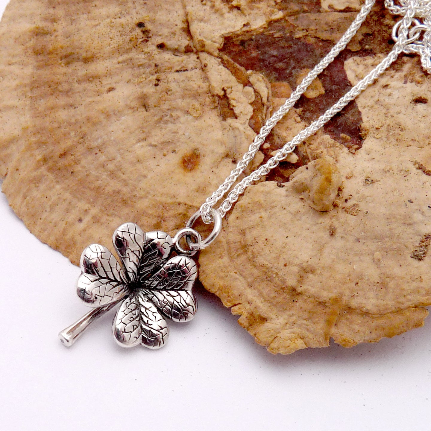 leaf clover necklaces sterling pendants cor products original lovers black necklace couple and four