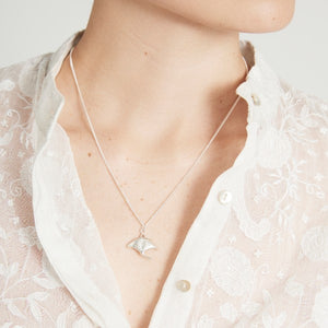 Silver Manta Ray Necklace by Joy Everley