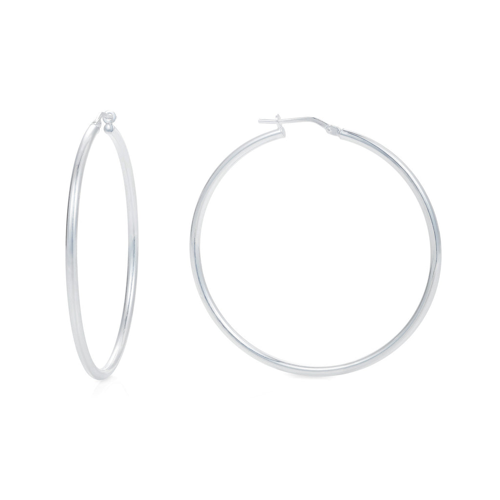 Medium Silver Hoop Earrings - Joy Everley Fine Jewellers, London