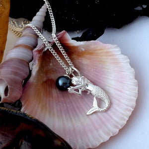 Mermaid and Black Pearl Necklace