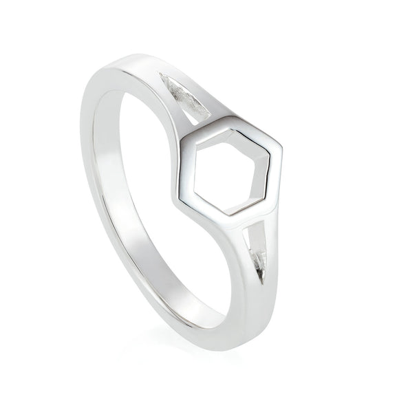 Silver Open Hexagon Ring
