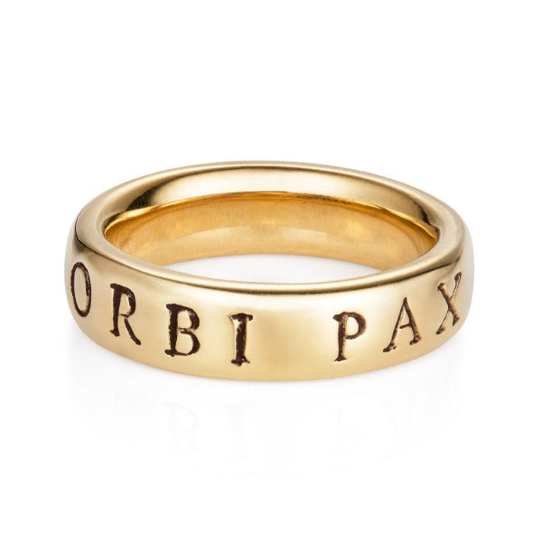 Latin Yellow Gold 'Urbi Et Orbi Pax' Ring - Joy Everley Fine Jewellers, London