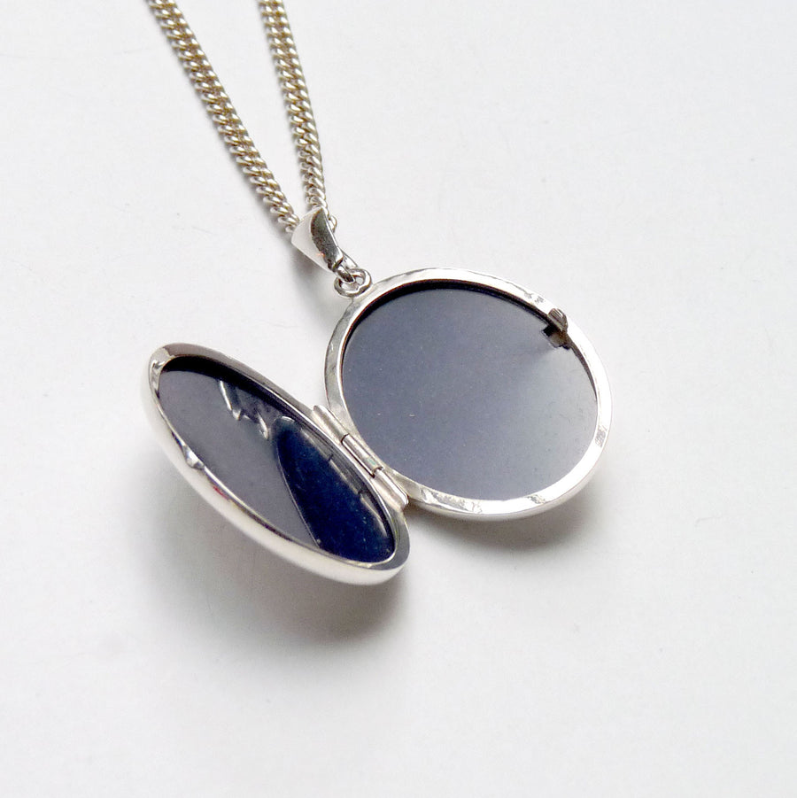 Tiny Oval Silver Locket Necklace by Joy Everley