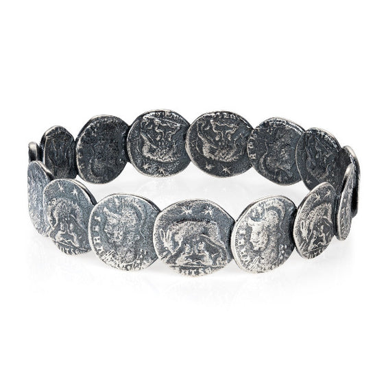 Dark silver roman coin bangle