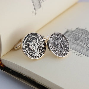 Silver Coin Cufflinks by Joy Everley