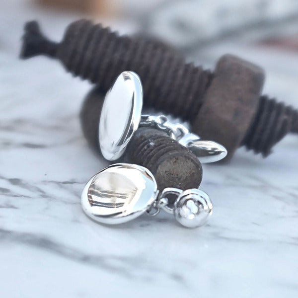 Smooth Pebble Cufflinks - Joy Everley Fine Jewellers, London