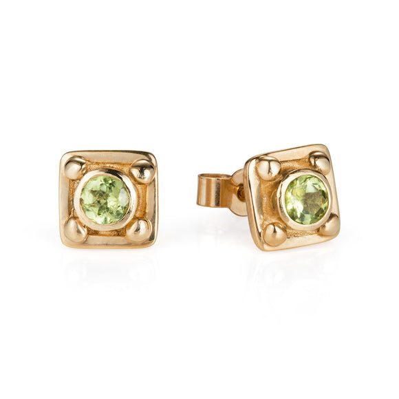 Gold Georgian and Peridot Ear Studs - Joy Everley Fine Jewellers, London