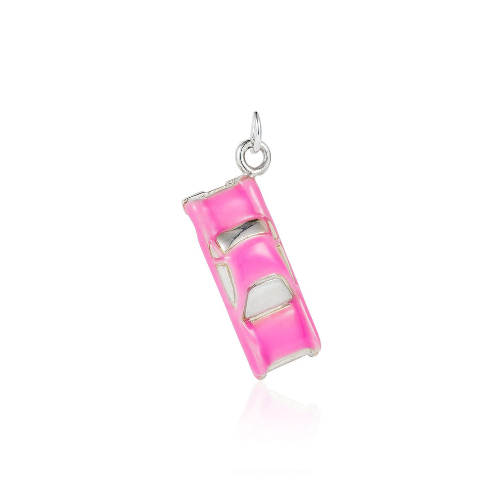 Pink Enamelled Silver Cadillac Charm