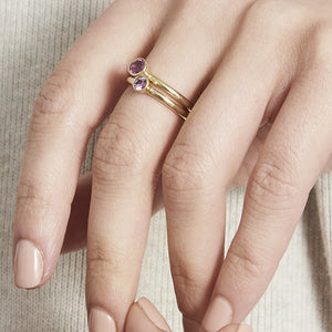 Solid Gold Pink Sapphire Stacking Ring