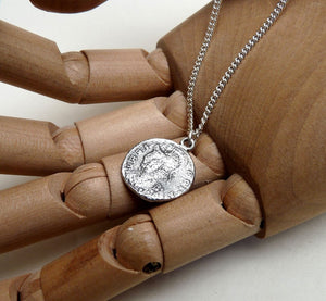 Silver roman coin necklace