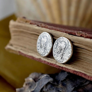 Silver Roman Coin Studs by Joy Everley
