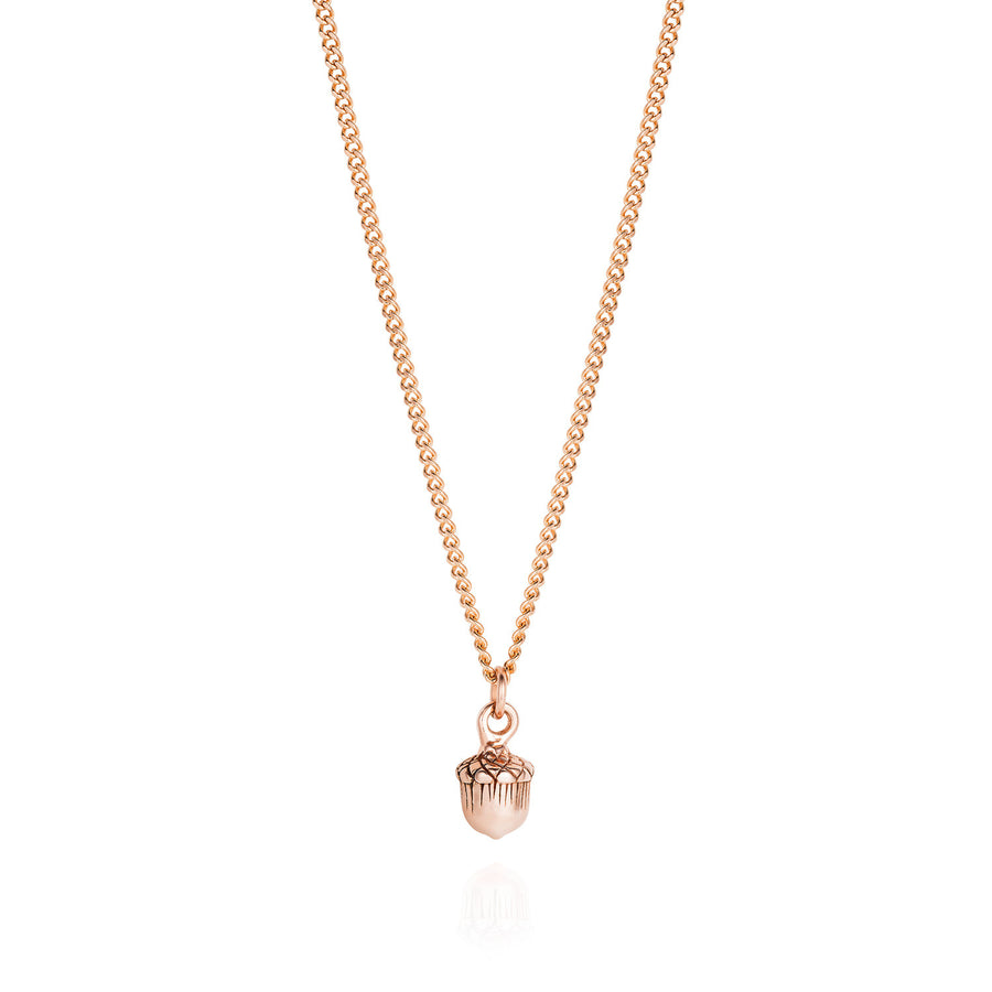 Rose Gold Acorn Necklace - Joy Everley Fine Jewellers, London