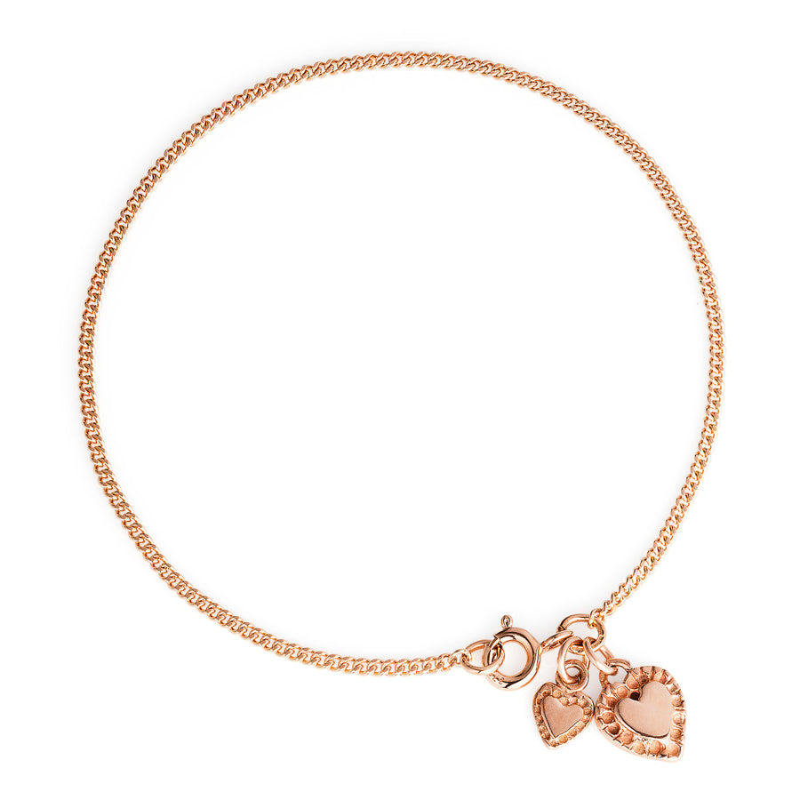 Rose Gold Two Hearts Bracelet - Joy Everley Fine Jewellers, London