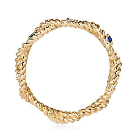 Gold Twist Ring with Sapphire and Diamond