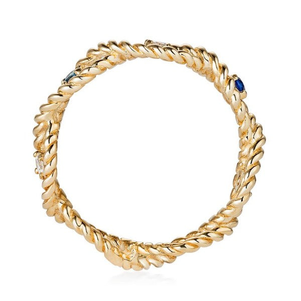 Solid Gold Twist Ring with Sapphire and Diamonds by Joy Everley
