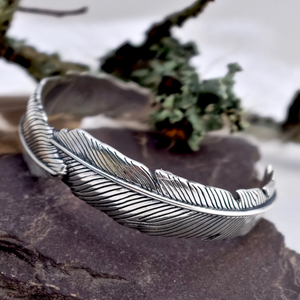 Buzzard Feather Silver Cuff by Joy Everley