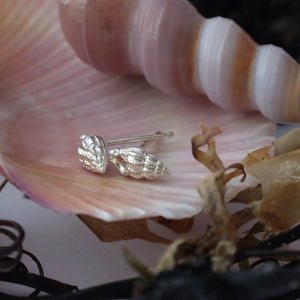 Whelk Shell Silver Ear Stud