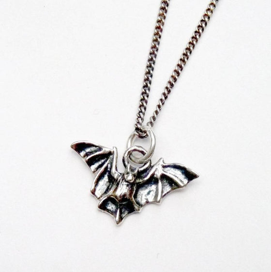 Dark silver bat necklace
