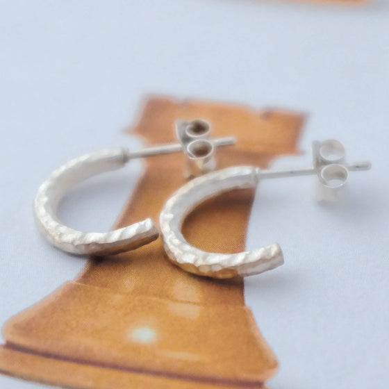 Birch Half Hoop Stud Earrings