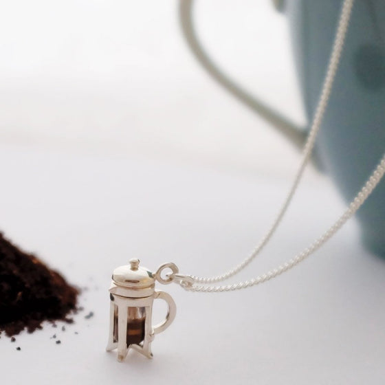 Silver Cafetiere Necklace - Joy Everley Fine Jewellers, London