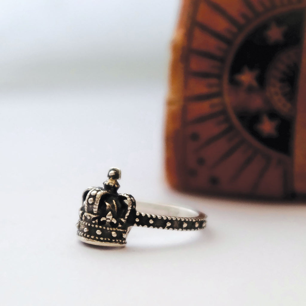 Sterling Silver Dark Crown Ring
