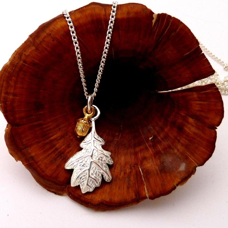 Silver Oak Leaf and Tiny Vermeil Acorn Necklace