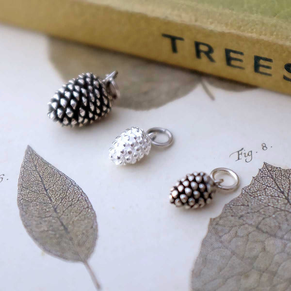 Silver Pinecone Charm