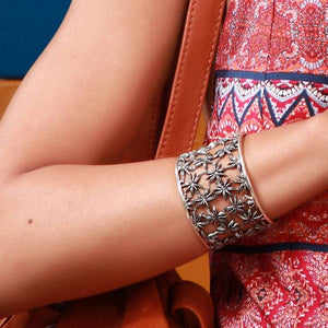 Silver or Gold Wide Star Anise Cuff by Joy Everley