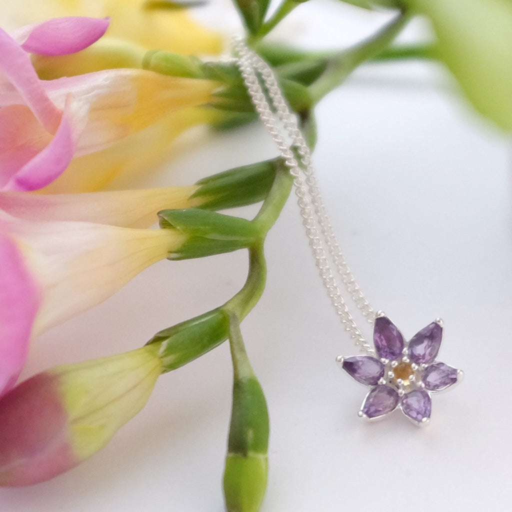Sterling Silver and Amethyst Flower Pendant Necklace