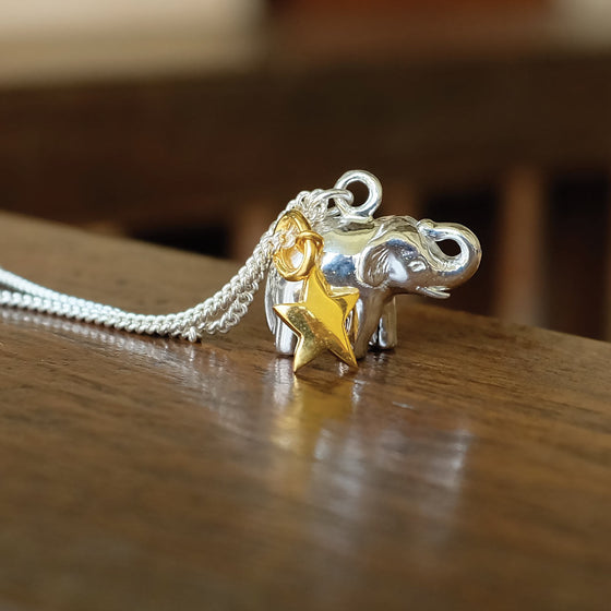 Lucky elephant charm necklace silver and vermeil