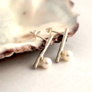 Birch Stick Silver Studs with Pearls by Joy Everley