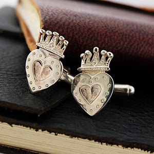 Silver Crowned Heart Cufflinks by Joy Everley